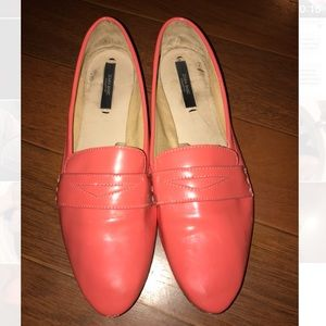 Zara Coral Patent Leather Flats